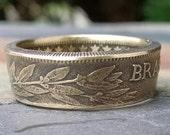 Brazil Coin Ring - 1927 1,000 Reis Coin Ring - Brasil Ring - Size: 10 1/4