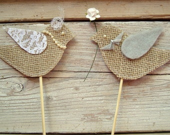 Burlap birds cake topper . bride and groom bird cake topper . rustic wedding cake