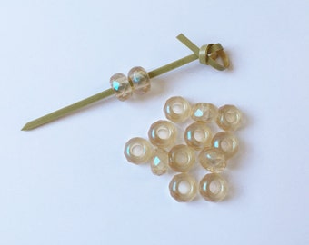 Color Trends Honey Glaze, 9x14mm Large Hole Firepolish Rondelles, Kumihimo Beads, Faceted Beads