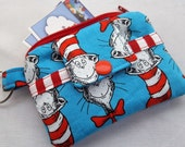 Zippy Zipper Wallet Pouch Key Chain Dr Seuss The Cat in The Hat Bows Card holder -
