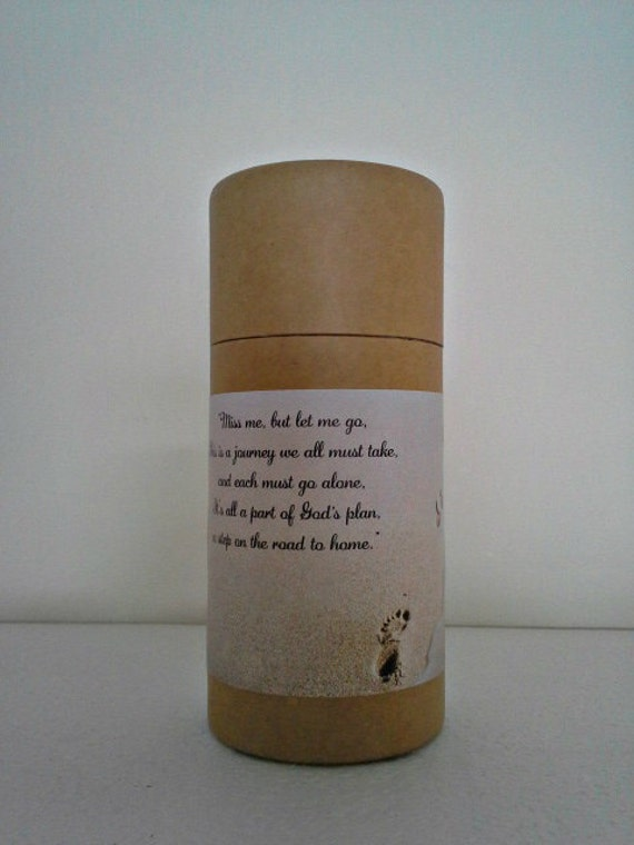 """Eco-Friendly Cremation Urn Scattering Tube w/Telescopic Lid - Natural/Biodegradable - Style """"Footprints"""""""