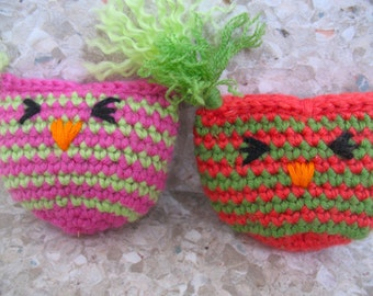 Two high quality Cat Toys, organic valerian root OWL striped Pouch, hand-crochet, wool/bamboo yarn.  FREE SHIPPING