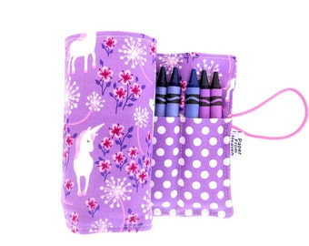 Crayon Roll - Unicorn  - holds 24 crayons -  crayon holder, mystical creatures, purple, girls gift coast prance tula
