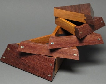Handcrafted Brazilian Ebony Jewelry Box with Secret Compartment and Weighted Base, 'The Trapezoid Box'