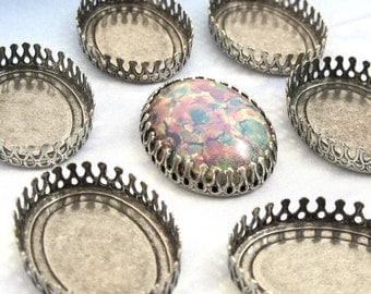 25x18 mm Crown Edge Settings 4 Antique Silver Cabochon Oval Brass Stamping M-7