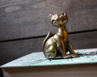 Brass Cat Tealight Holder - Candle Holder