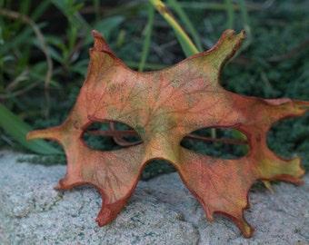 Fall Oak Leaf Mask Split Leather