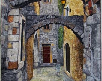 Spanish Arches Original Fiber Art by Lenore Crawford