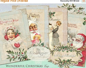 SALE 30% OFF - TAGS Wonderful Christmas - Christmas Images - Digital Collage Christmas - Digital Collage winter - Shabby chic digital - Wint