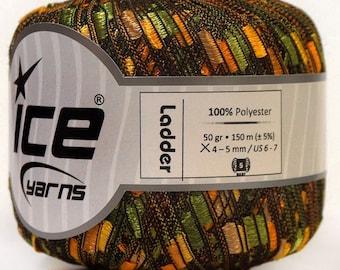 ice ladder ribbon yarn trellis Green Yellow Camel 1 skein knitting crochet daily bulky chunky 34031