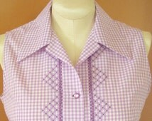 Handmade Summer Blouse With 60s Vibe, Vintage Style Hand Embroidery on Lavender Gingham, Size 8 Bust 36