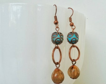 Boho Dangle Earrings Turquoise Copper Coix Lacryma Seeds