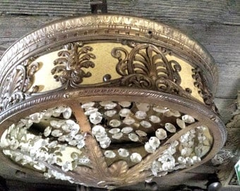 Antique Theater Light, Vintage Ceiling Light with Crystals