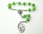 Green Saint Raphael the Archangel Car Prayer Chaplet Rosary  - The Healing Angel and Patron of Travelers