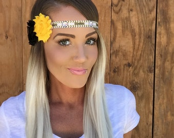 Pittsburgh Steelers Black + Yellow Flower Headband || White Gold Red Blue Band Fashion Hair Head Football Game Accessory Women Girl Cute