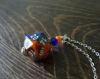 D20 dice blue orange D20 dice pendant dungeons and dragons pendant dice pendant D20 pendant dice jewelry geek pathfinder D20 dice