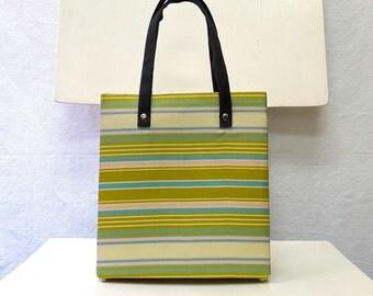 1990s Vintage Silk Handbag / Blue Green Pink Pastel Striped Handbag