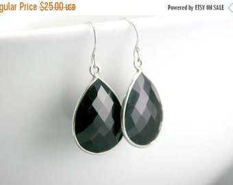 SUMMER SALE Black Onyx Silver Earrings - Gemstone Bezel Set Teardrop Earrings