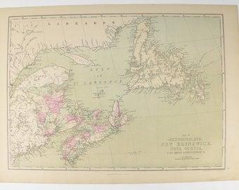 Antique Nova Scotia Map, New Brunswick Map 1873 Antique Map Prince Edward Island Map Cape Breton Island Canada Map, Newfoundland Canada Gift