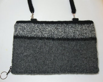 Electronic device wallet in gray felted wool