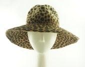 Animal Print  Wide Brim Hat / Fur Felt Floppy Hat / Handmade by Marcia Lacher Hats