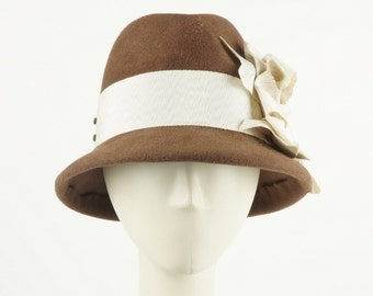 Brown FELT HAT for WOMEN - Women's Fedora Hat -  Ladies Winter Hat - Women's Winter Hat - Fedora Hat Women's - Handmade Hat - Vintage Style