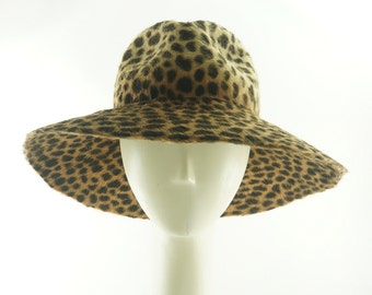 Animal Print  Wide Brim Hat / Fur Felt Floppy Hat / Handmade by Marcia Lacher Hats