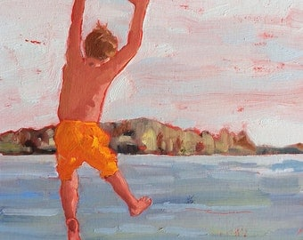 "WATCH THIS, MOM. 11"" x 14""  (28 x 36 cm) original oil painting on canvas board. Yvonne Wagner. Summer. Swimmer. Diving. Jumping in Lake."