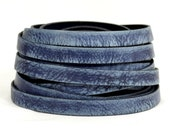 25% OFF 10mm Flat Vintage Leather - Midnight Blue - 10FV-10 - Choose Your Length
