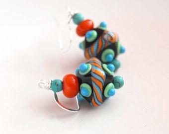 Black Diamond Shaped Earrings, Colorful Earrings, Funky Multi-Colored Earrings, Lampwork Glass Bead Earrings