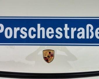 """Porschestrasse German Street Sign Replica / 6"""" x 24"""" Porsche Garage"""