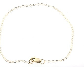 14k Gold Filled 1.2mm Cable Chain Bracelet with Lobster Clasp  7.5  inches - Finished Bracelet as low as 3.35 each!