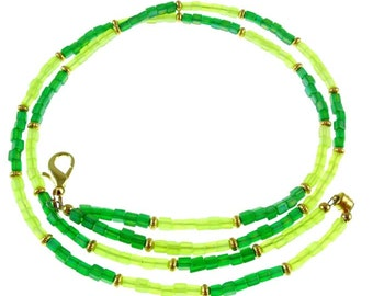 Frosted light and dark green beaded break away lanyard, necklace, & more- gold or silver