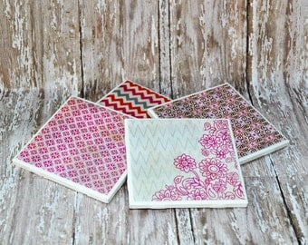 Cottage Chic Coasters, Tile Coasters, Set of 4 Coordinating Coasters, Pink, Orange and Gray, 4 Inch Square Tile Coasters, Handmade Coasters