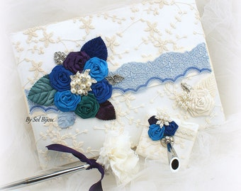 Guest Book, Ivory, Blue, Royal Blue, Purple, Turquoise, Signature Book, Pen,Sign in Book, Beach Wedding,Lace, Pearls, Crystals, Brooch