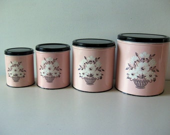 Vintage pink Decoware canister set 1950s Pink and black canisters