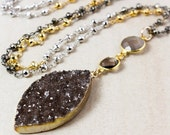 ON SALE Brown Druzy Leaf Necklace – Grey Chalcedony & Smokey Quartz – Silver/Gold/Black Pyrite Chain