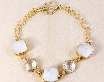 ON SALE Crystal Quartz and White Druzy Bracelet – 14K Gold Filled