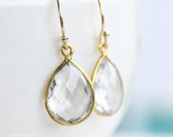 25% OFF Gold Crystal Quartz Bridal Earrings - Gemstone Earrings - Teardrops