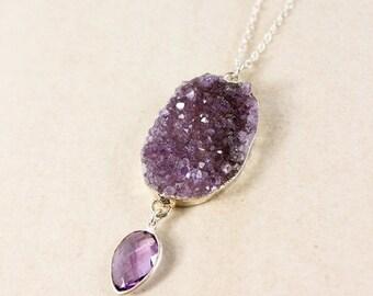 50% OFF Silver Purple Amethyst Druzy & Pink Amethyst Necklace - Raw Amethyst Druzy - Amethyst Jewelry