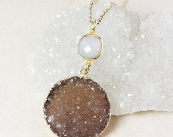50% OFF Pink Chalcedony and Neutral Druzy Pendant Necklace – Choose Your Druzy – 14k Gold Filled Chain