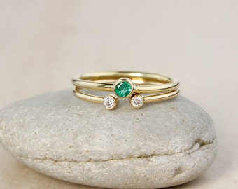 Modern Emerald Diamond Stacking Ring Set - Solid 10kt Gold - Wedding Set