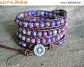 30% OFF SALE Jardin Purple Jasper Beaded Leather Wrap Bracelet