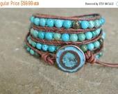 SALE Zelia Turquoise Beaded Leather Wrap Bracelet