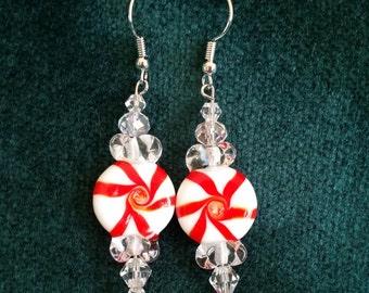 Peppermint Candy Pinwheels Dangle Earrings