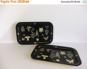 SUMMER Sales Event Vintage Tray, Black and gold painted tray, Lap tray, Rectangle Tray, Butterfly and Leaf