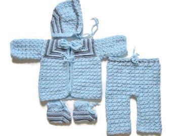 0-3 Month  Sweater Set, Baby Boy Outfit, Blue and Gray Outfit, Crocheted Sweater Set, Layette