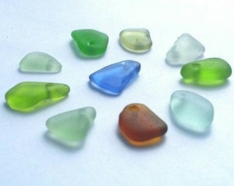 10 Drilled Genuine Sea Glass medium Charms  (129 )