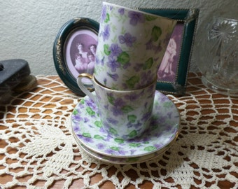 Vintage Miniature Tea Cups and Saucers Purple Violets Signed Lefton Demitasse Set of Two