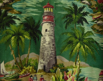 Vintage Tropical Lighthouse Bark Cloth Fabric Remnant for Wall Decor Pillow Slip No. 1